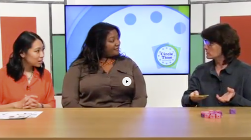 Circle Time Magazine Show hosts interacting with small counting blocks