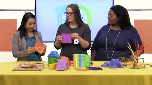 Circle Time Magazine Show hosts interacting with colorful foam shapes