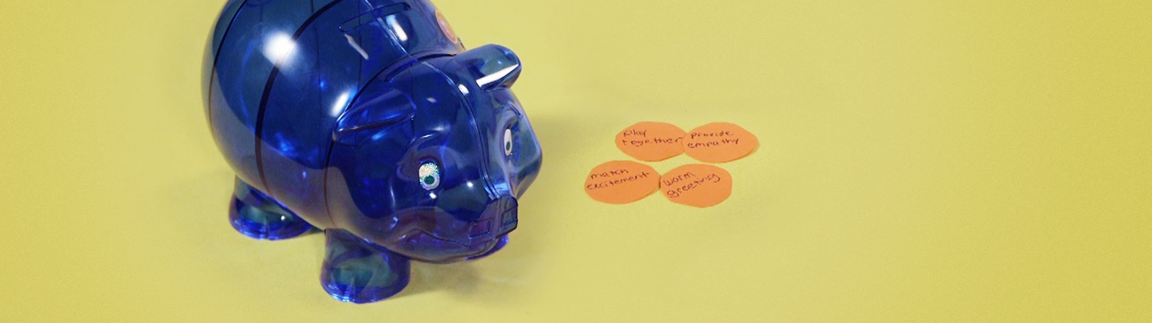 Blue plastic piggy bank from Circle Time Magazine show